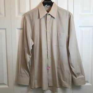 Geoffrey Beene Beige Mens Dress Shirt L/S sz 16